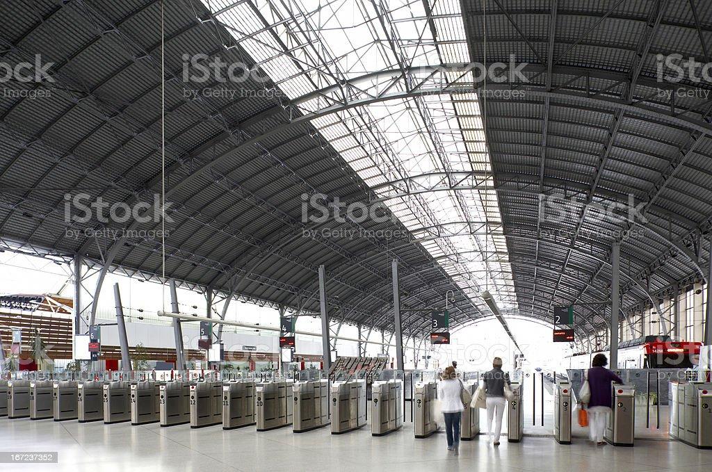 Railway station platforms royalty-free stock photo