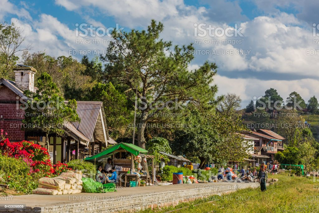railway station Shan state Myanmar stock photo