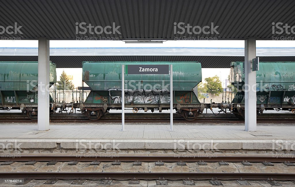 Railway station with freight wagons and rails stock photo