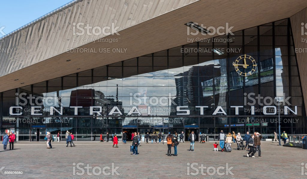 Railway Station with Square Rotterdam stock photo