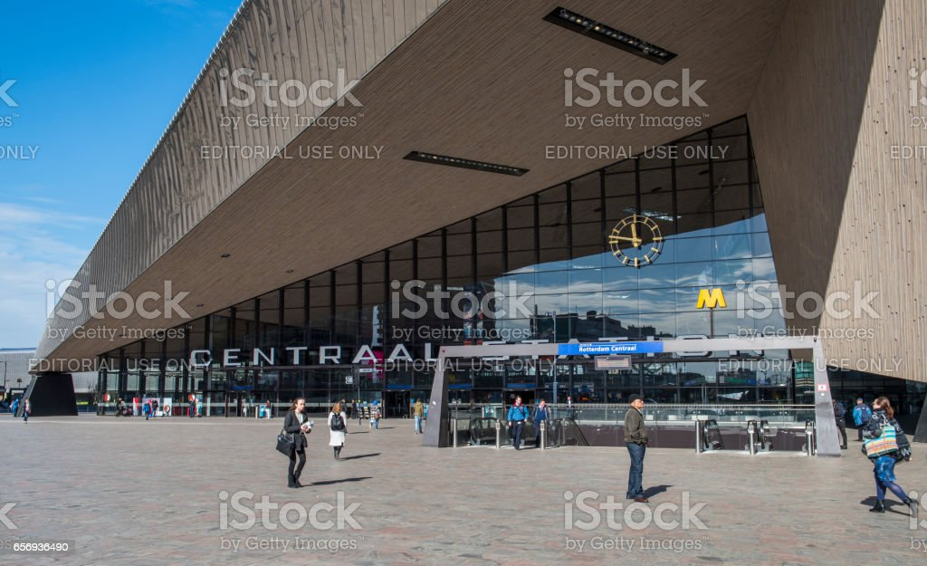 Railway Station with Travelers Rotterdam stock photo