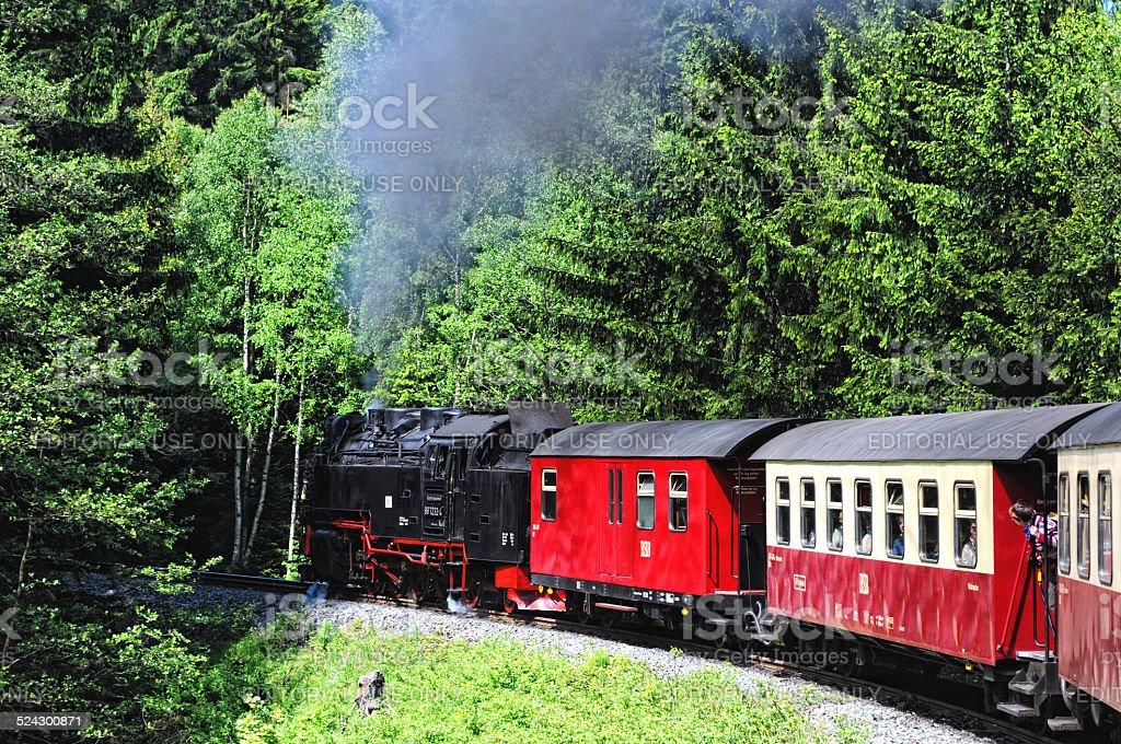 Railway Steam locomotive driving to Brocken mountain stock photo