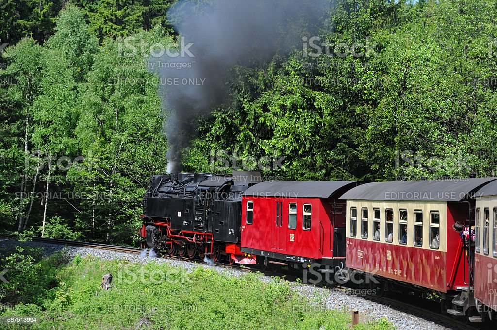Railway Steam locomotive driving to Brocken mountain stock photo