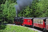 Railway Steam locomotive driving to Brocken mountain