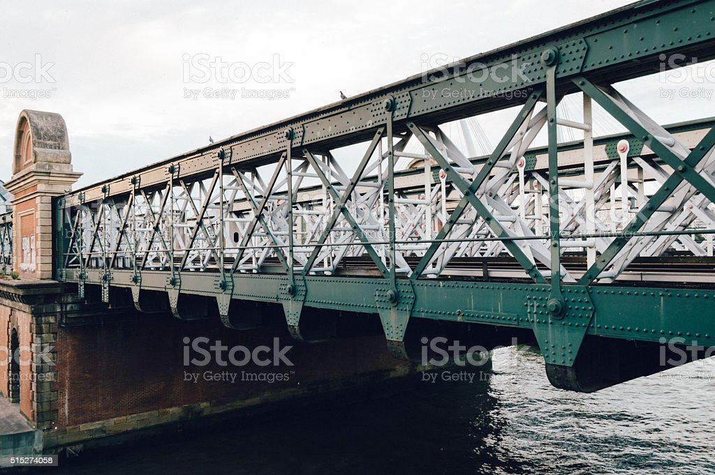 Railway steel bridge over a river stock photo