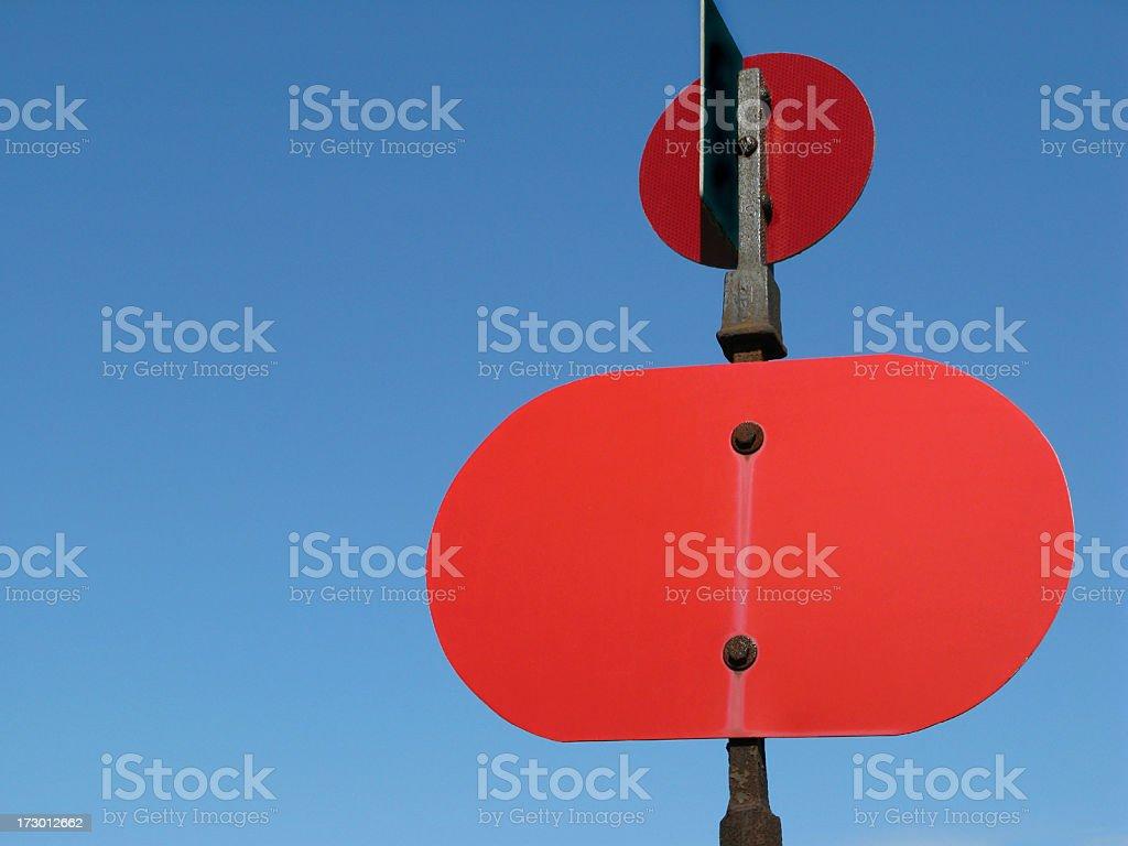 Railway stop signal. stock photo