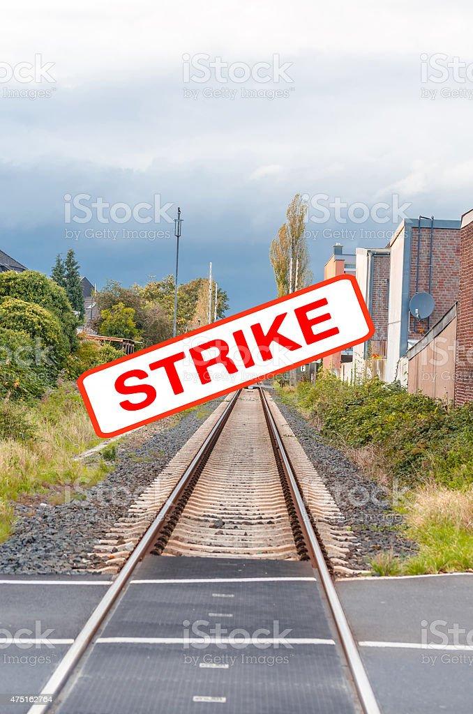 Railway strikers stock photo