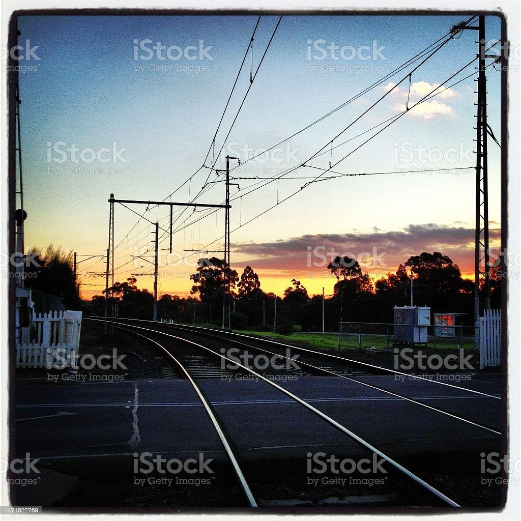 Railway sunset royalty-free stock photo