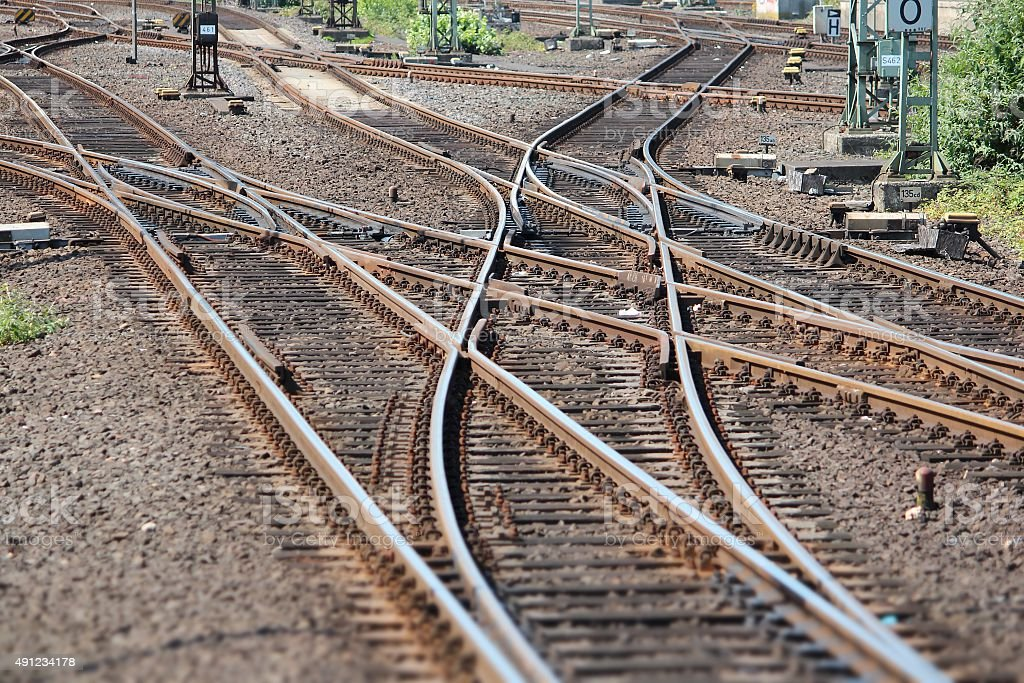 Railway switch stock photo