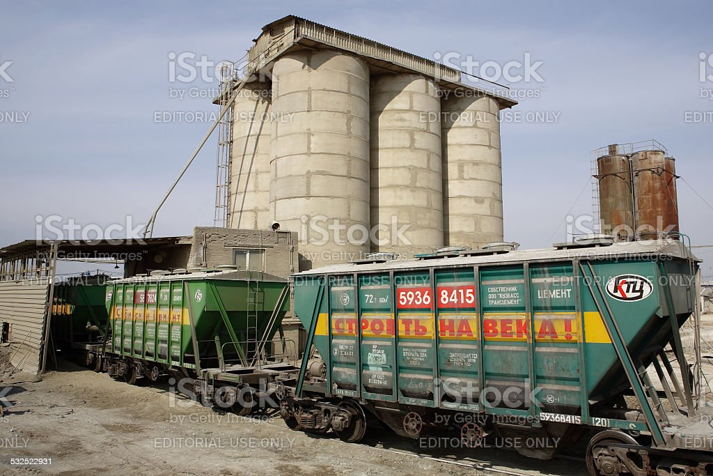 Railway tank wagon for transportation of cement stock photo