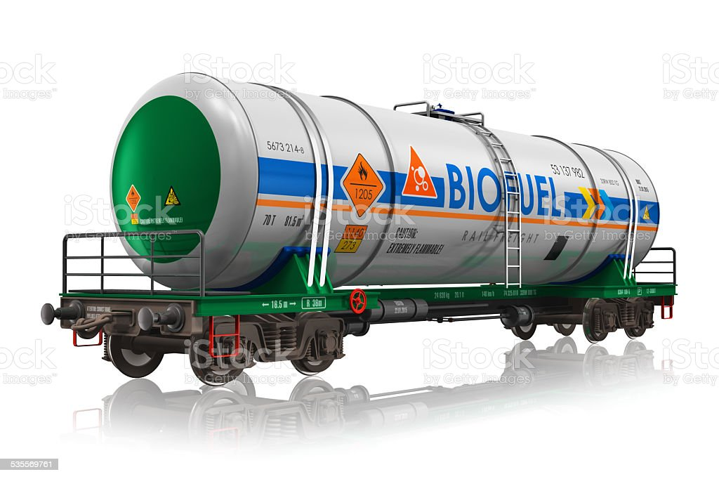 Railway tankcar with biofuel stock photo