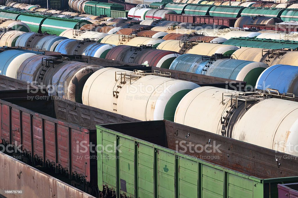 Railway tanks for mineral oil and other cargoes stock photo