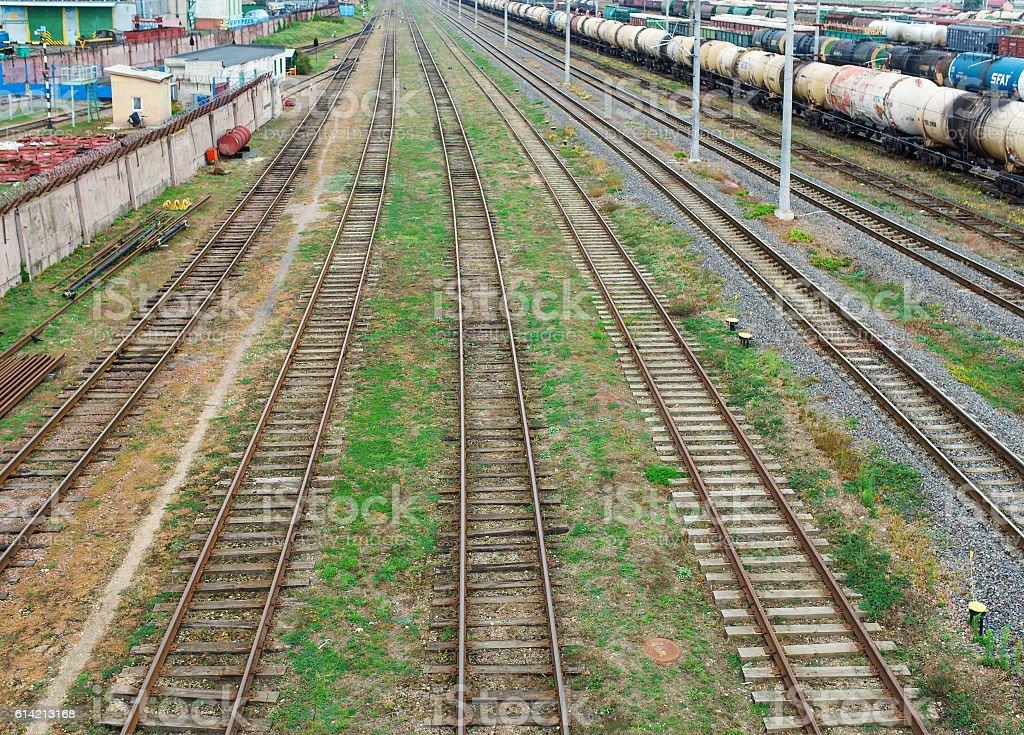 Railway. The nodal junction of railways. stock photo
