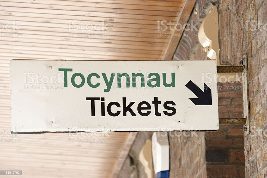 Railway tickets sign stock photo