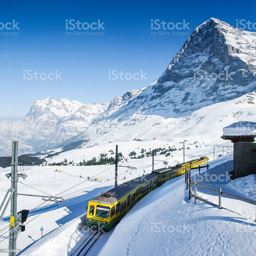 Railway to Jungfraujoch stock photo