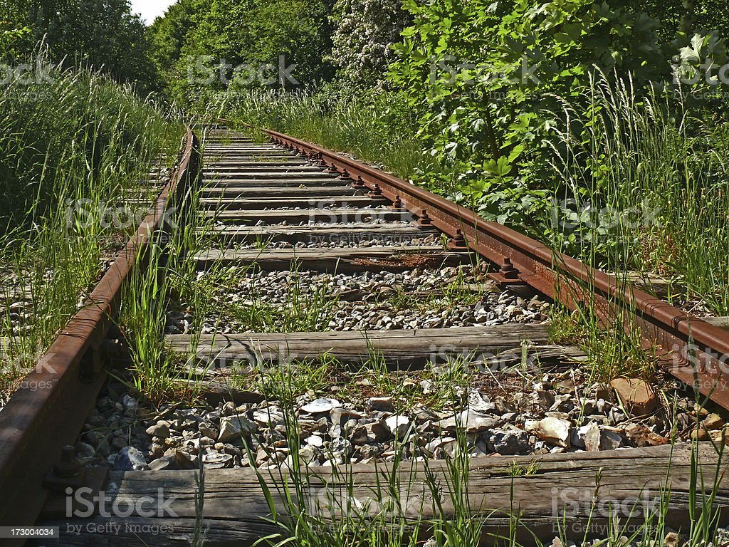 Railway to the middle of nowhere stock photo