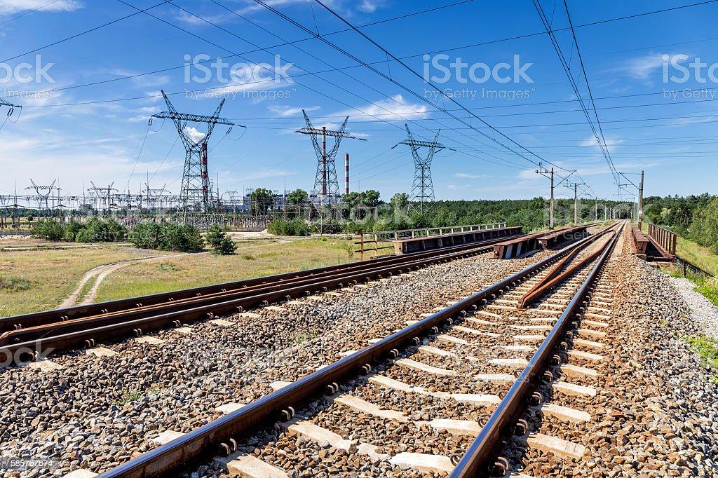 Railway to the power station, Szczecin, Poland stock photo