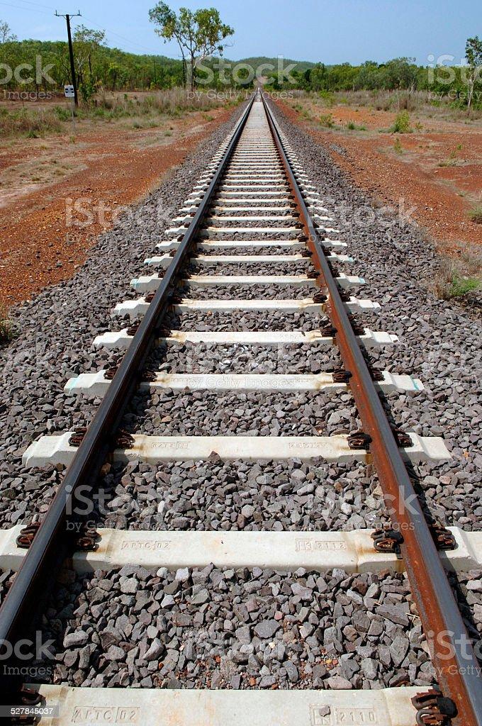 Railway track, Alice Springs to Katherine, Australia stock photo