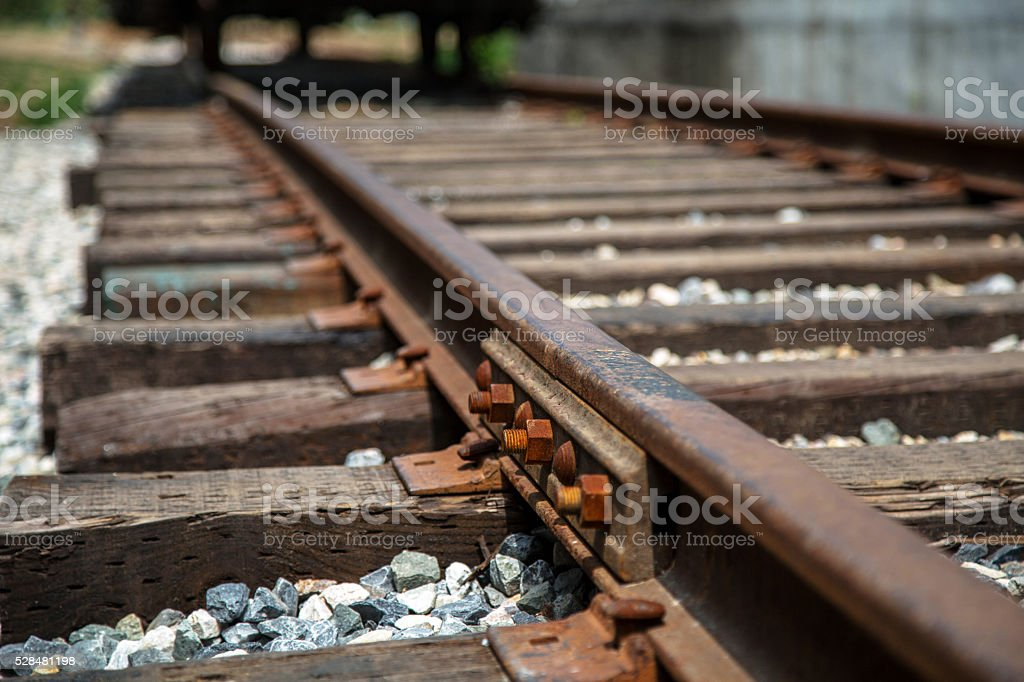 railway track and sleepers stock photo