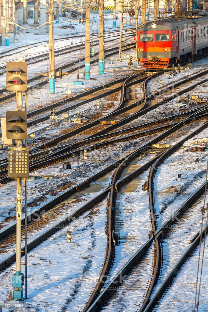 Railway track and turnouts, Moscow, Russia royalty-free stock photo