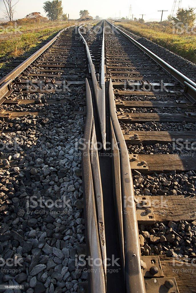 Railway Track at Sun Rise stock photo