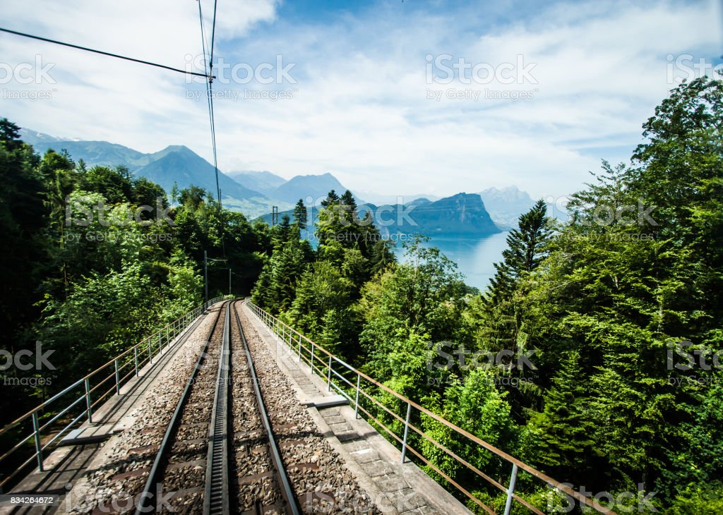 Railway track down Rigi Kulm Station, Lucerne, Switzerland. stock photo