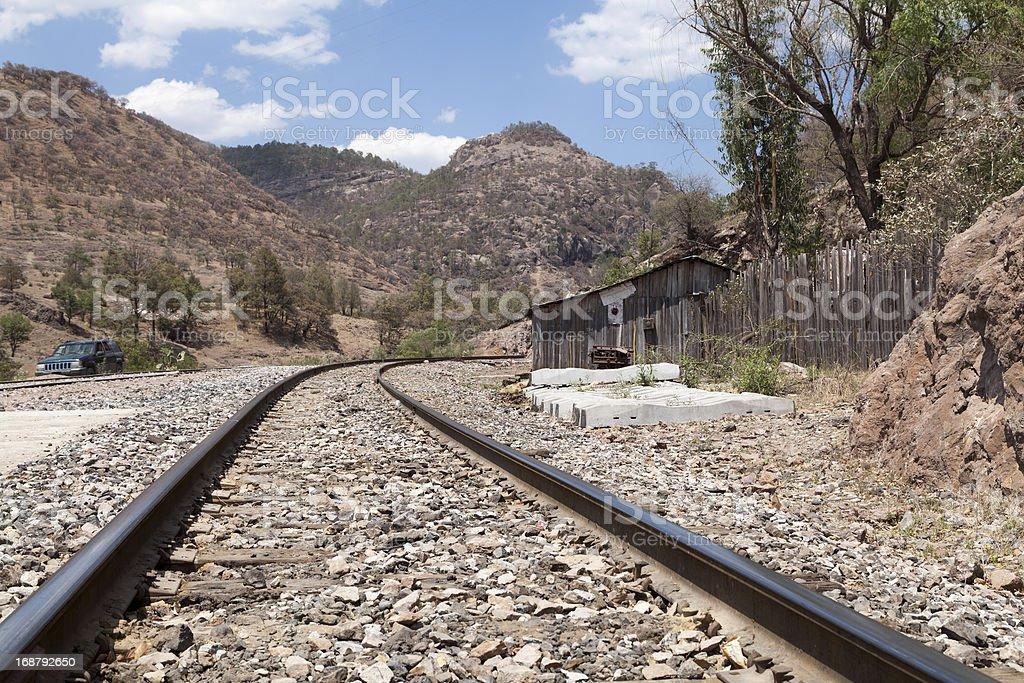 Railway track in Bahuichivo, Copper Canyon, Chihuahua, Mexico stock photo