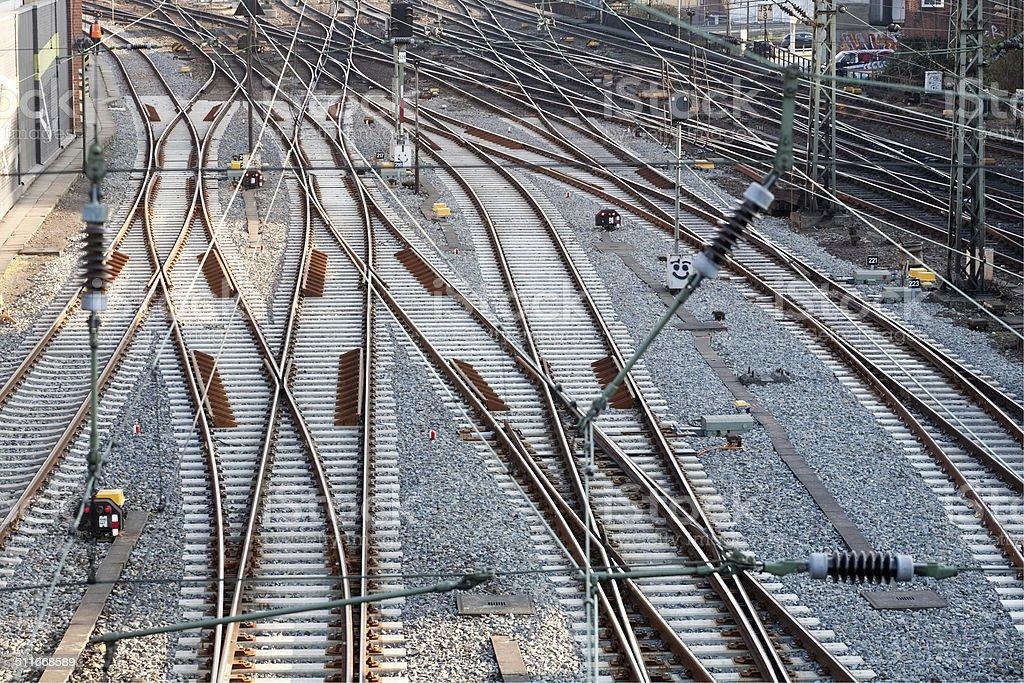 railway track lines stock photo