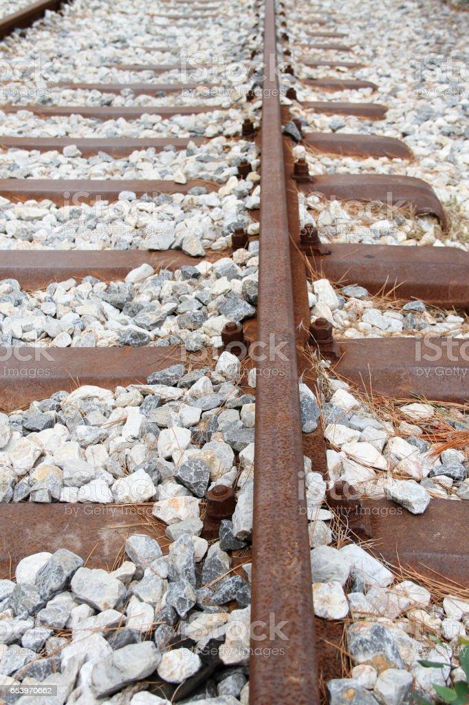 Railway Track Metal Railway Sleepers and Ballast stock photo