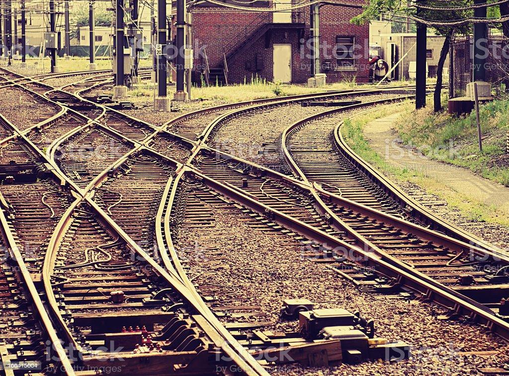 Railway track of the train - Boston Downtown royalty-free stock photo