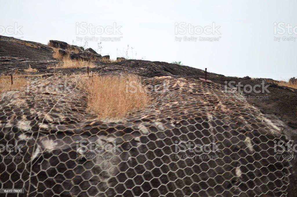 Railway Track protective netting stock photo