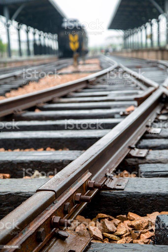 railway track, sleepers and platform stock photo
