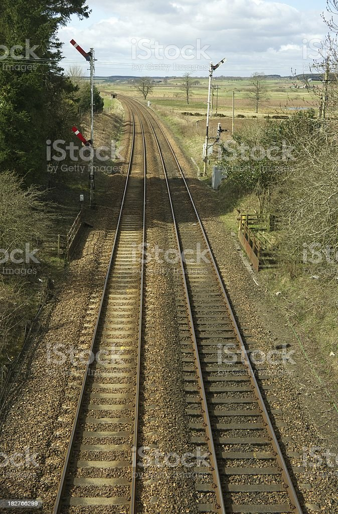 Railway track with signals royalty-free stock photo