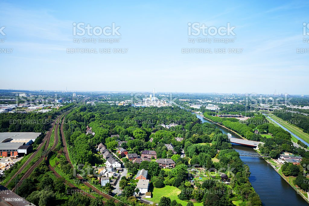 Railway tracks and Rhine-Herne-Canal through Ruhrgebiet stock photo