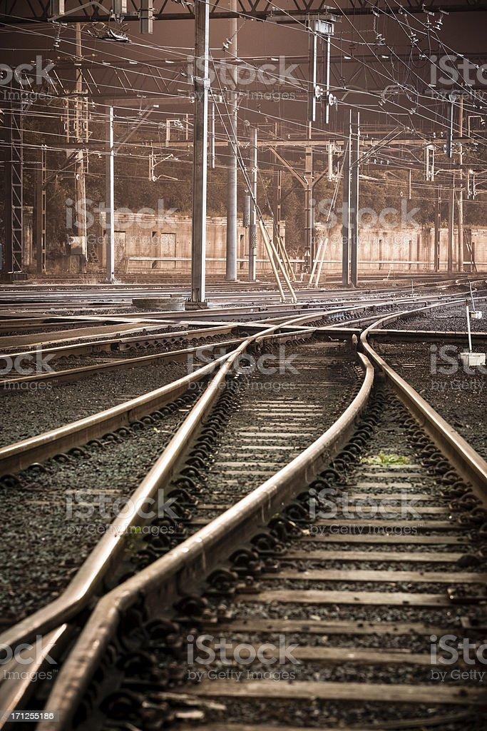 Railway tracks at night stock photo