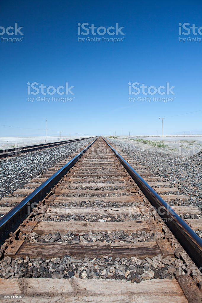 Railway Tracks Diminishing Perspective stock photo