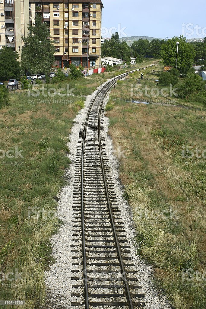 railway tracks in a rural scene royalty-free stock photo