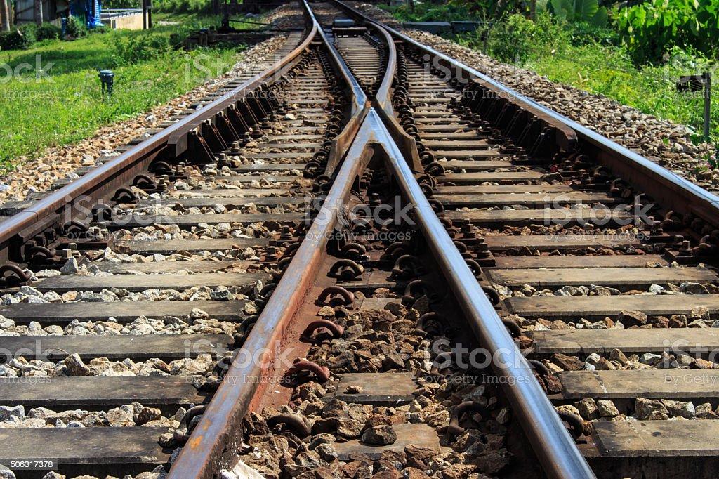 railway tracks junction stock photo