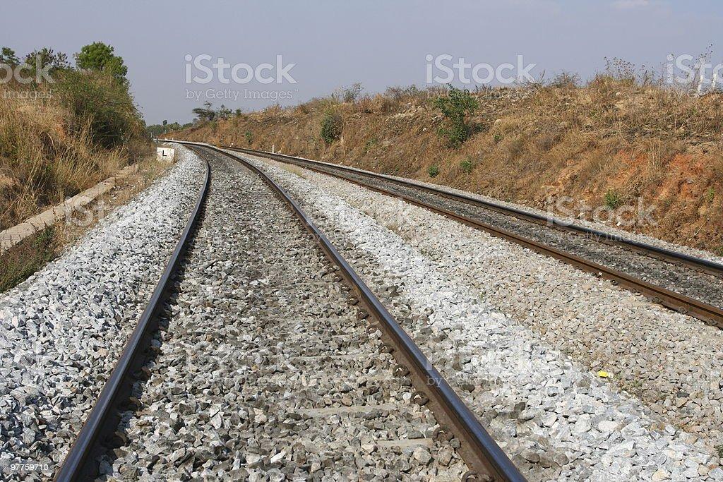 Railway (railroad) tracks stock photo