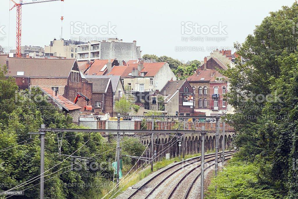 Railway tracks through Brussels Schaerbeek stock photo
