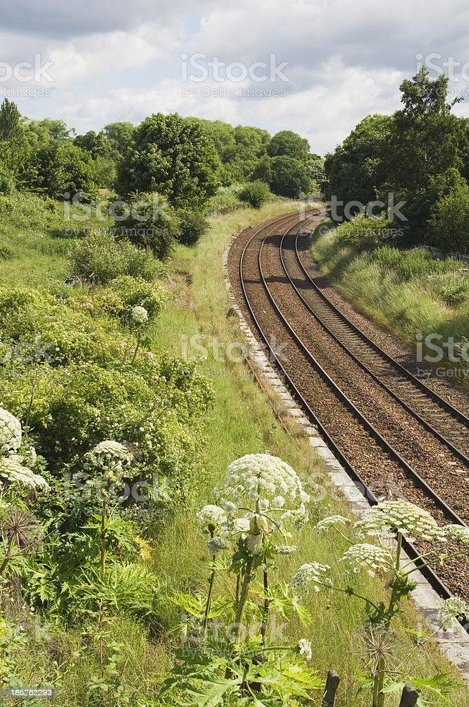 Railway tracks through countryside stock photo