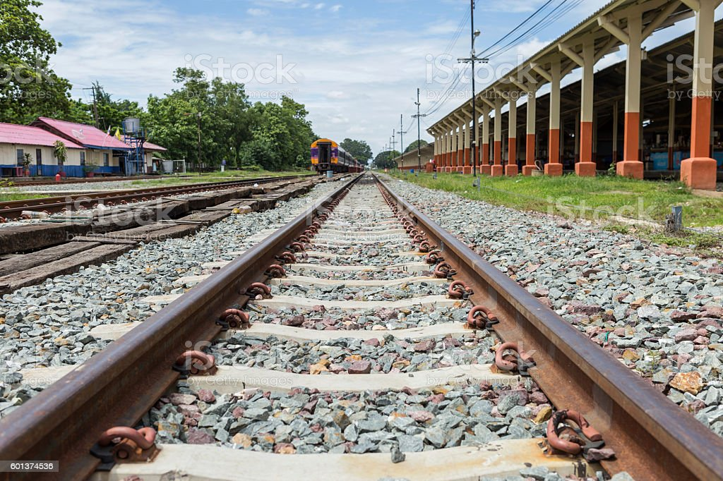 Railway tract at train station in Thailand stock photo