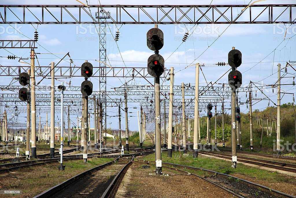 Railway traffic lights show a stop signal royalty-free stock photo