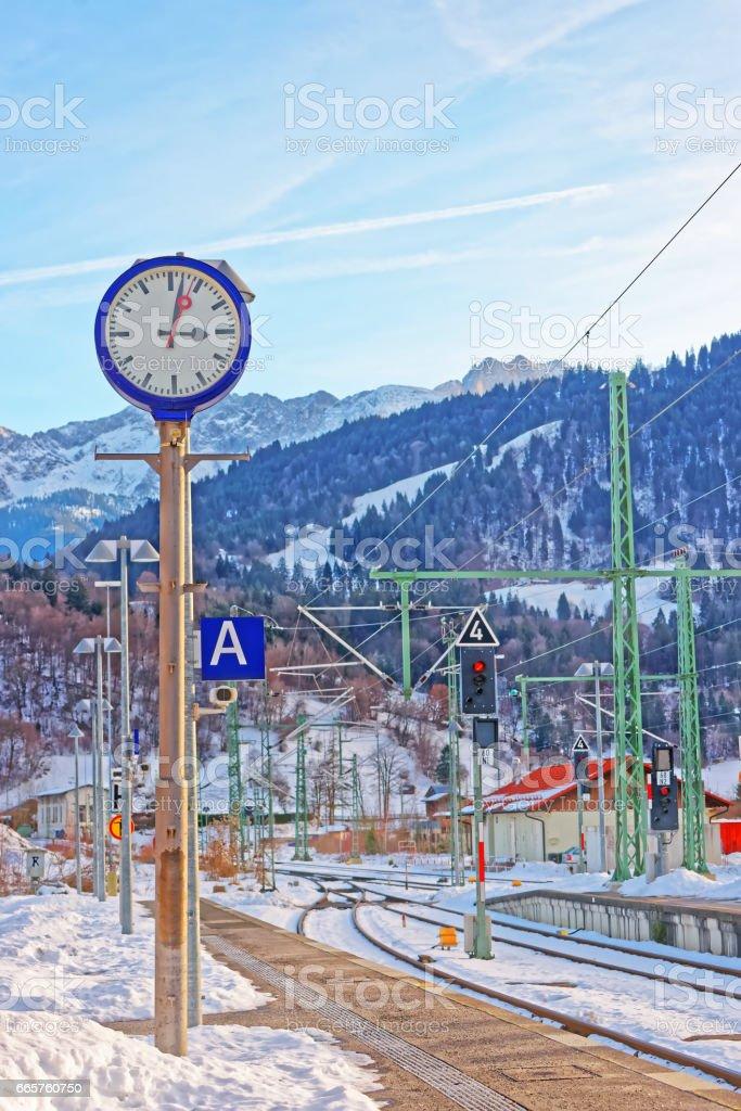 Railway train station at Garmisch Partenkirchen stock photo