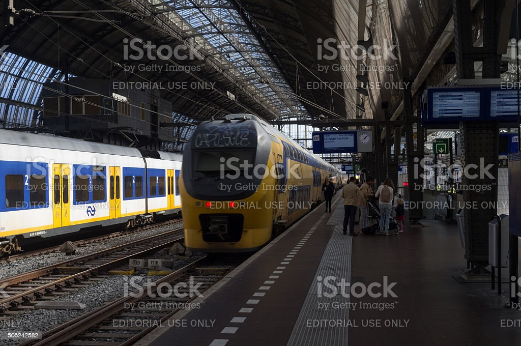 Railway Train Station in Amsterdam stock photo