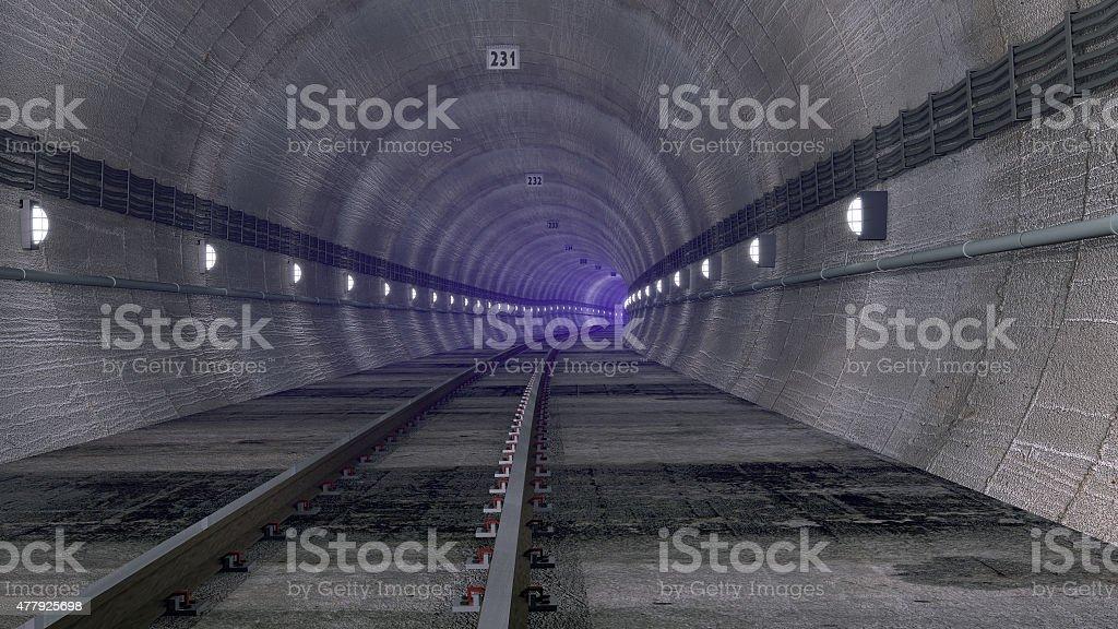Railway tunnel with purple mist stock photo