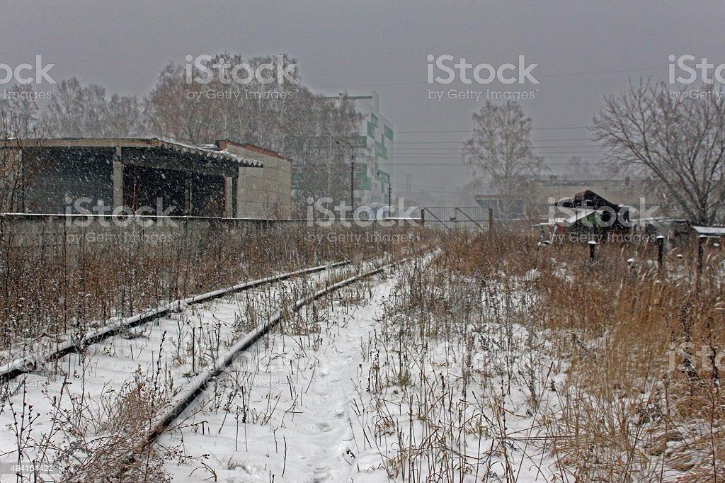 Railway under snow in November