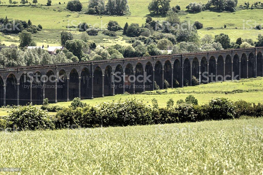 Railway viaduct Harringworth stock photo