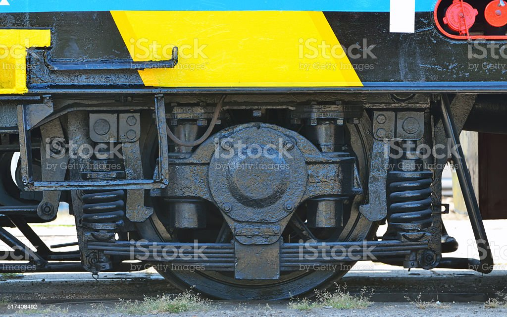 Railway wheels wagon recondition stock photo