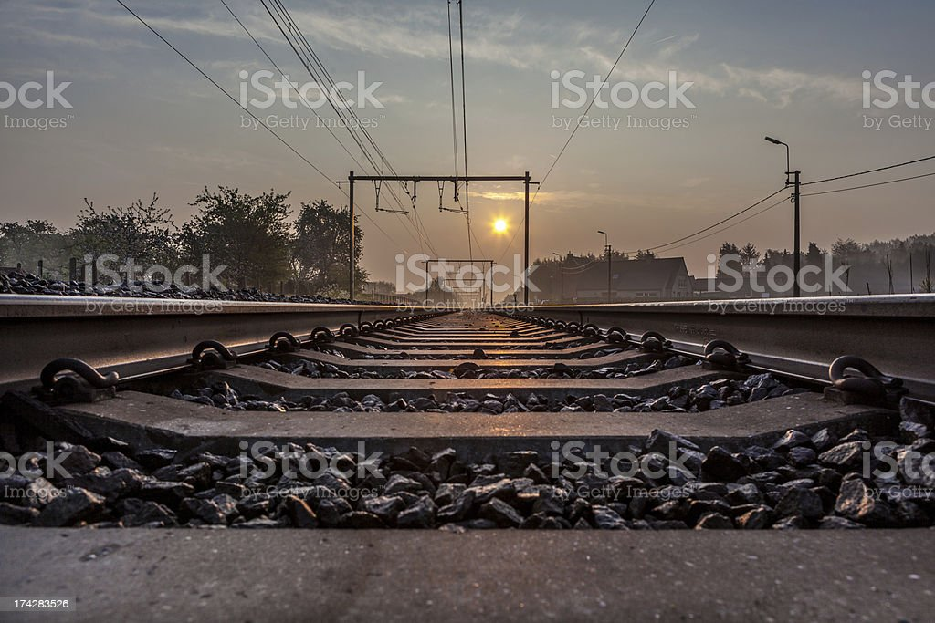 railway whit sunsine stock photo